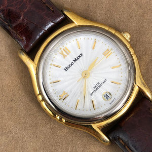 Hugo Maxx Ladies 18P Gold Plated Brown Strap Watch